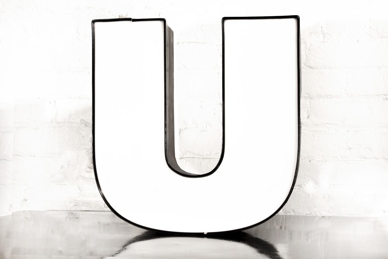 "vintage channel letter ""u"" in white - rehab vintage interiors"