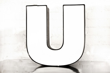 "SOLD - Vintage Channel Letter ""U"" in White"