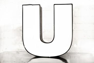 """SOLD - Vintage Channel Letter """"U"""" in White"""
