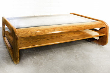 SOLD - Mid-Century Oak and Glass Coffee Table by Lou Hodges