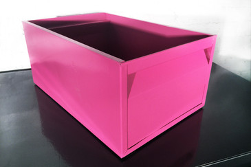 SOLD - 1940s Industrial Storage Bin, Refinished in Pink, Free Shipping