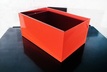 SOLD - 1940s Industrial Storage Bin, Refinished in Orange