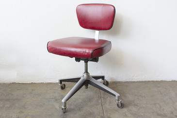 SOLD - 1960s Cast Aluminum Steno Chair in Red Leather