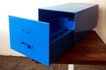 SOLD - Mid-Century Industrial File Drawer, Refinished in Blue