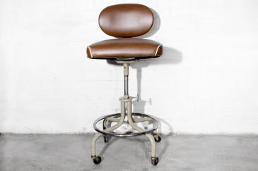 SOLD - Vintage Drafting Stool in Brown Vinyl