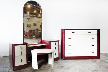 SOLD - Norman Bel Geddes Vanity Bedroom Set, Refinished