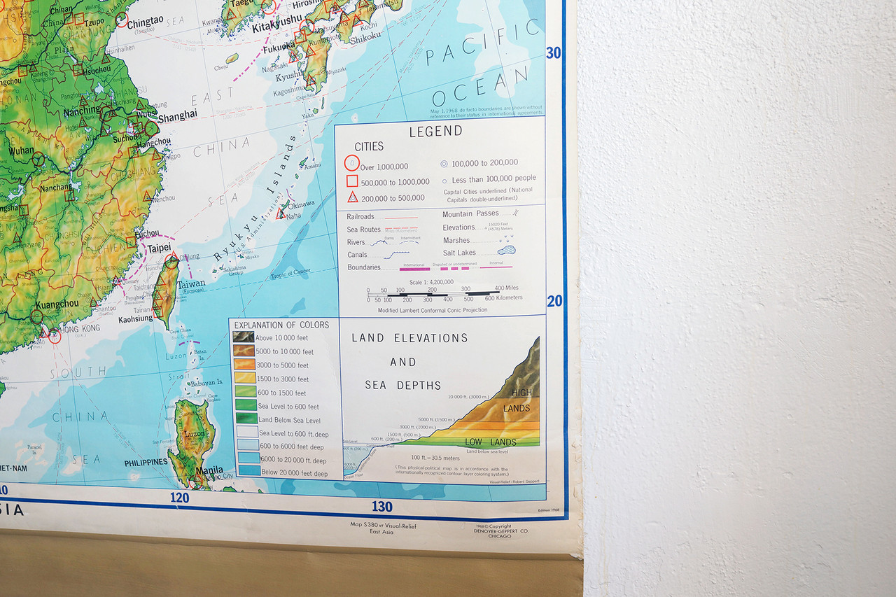 SOLD - Vintage Pull Down Map of East Asia, 1960s - Rehab ...
