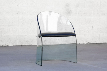 SOLD - Curved Glass Chair in the Style of Pittsburgh Plate Glass Co.