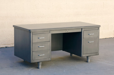 Classic Mid Century Tanker Desk, Refinished in Natural Steel