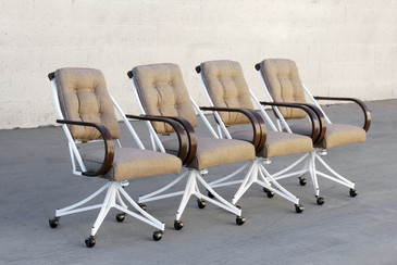 SOLD - Set of 4 Bentwood and Steel Atomic Dining Chairs, Refinished