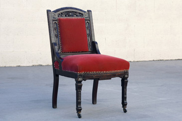 SOLD - Victorian Rectory Chair of Carved Mahogany