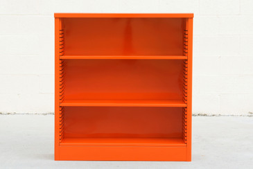 1960s Steel Bookcase in Orange, Custom Refinished to Order