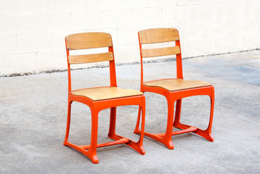 SOLD - 1950s Retro School Chairs, Refinished