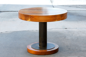 Custom Walnut Slab and Steel Side Table