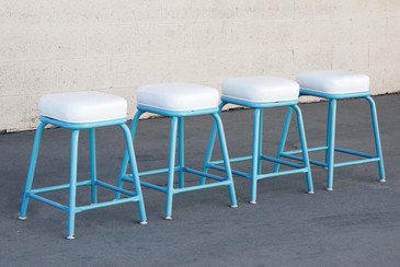 SOLD - Set of 4 Machine Age Industrial Stools in Tiffany Blue