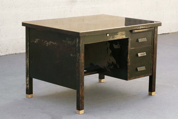 1920s General Fireproofing Desk with Distressed Patina