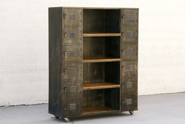 SOLD - Custom Two-Column Wood and Steel Locker and Shelf Unit