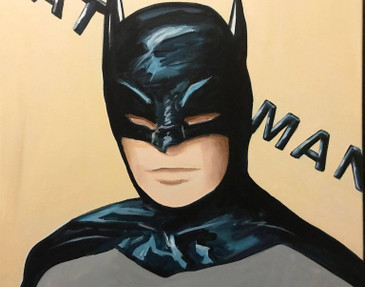 Portrait of a Batman Pop Art Painting by Hatti Hoodsveld