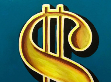 "Dollar Sign ""$"" Pop Art Painting by Hatti Hoodsveld"