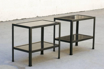 SOLD - Pair of Custom Patinated Steel Side Tables