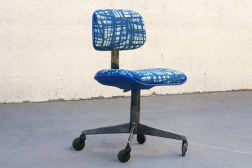 Vintage 80s Chrome Steelcase Task Chair with Abstract Fabric