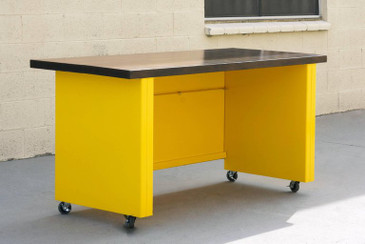 SOLD - 1950s Steel Workbench Table with Ebonized Maple Top