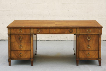 SOLD - Stately Executive Desk in Solid Walnut by Baker