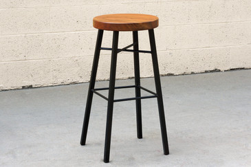 SOLD - Custom Tiger Wood and Steel Stool