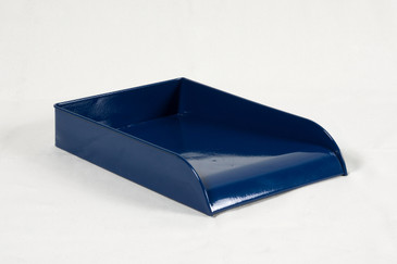 SOLD - Vintage Steel Letter Tray Refinished in Midnight Blue