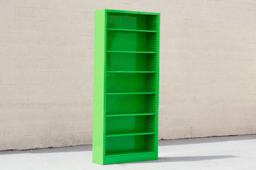 Tall Steel Tanker Bookcase in Lime, Custom Refinished to Order