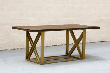 SOLD - Custom Metallic Gold Dining Table with Maple Top