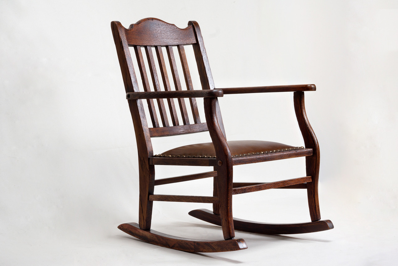 American Craftsman Child's Rocking Chair, Antique Oak and Leather - American Craftsman Child's Rocking Chair, Antique Oak And Leather