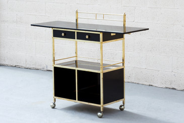 SOLD - Vintage Black Lacquer and Brass Bar Cart
