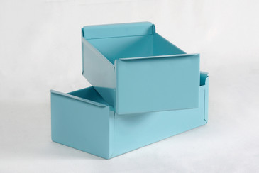 SOLD - 1950s Card File Drawers Refinished in Tiffany Blue