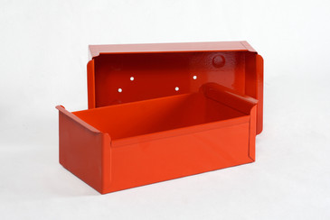 SOLD - 1950s Card File Drawers Refinished in Red