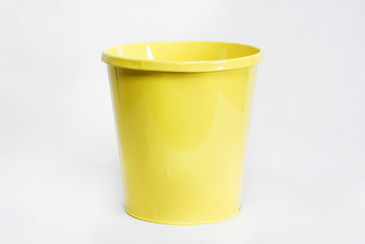 SOLD - 1940s Lit-Ning Products Steel Trash Can Refinished in Yellow, Free Shipping