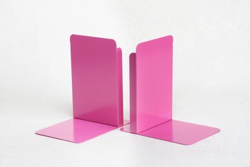 SOLD - Pair of Vintage Steel Library Bookend Refinished in Pink, Free Shipping