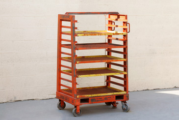 SOLD - 1940s Vintage Industrial Storage Rack with Expanded Metal Shelves