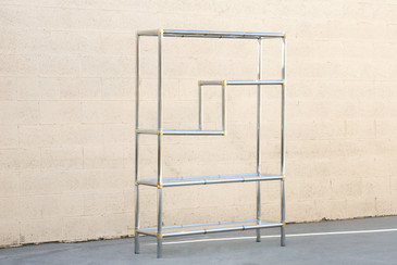 SOLD - 1970s Modern Chrome Etagere with Glass Shelves