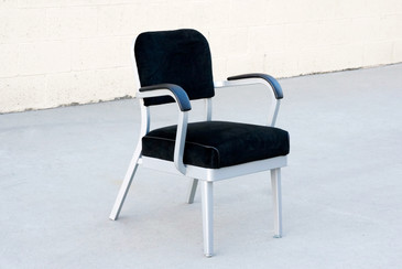 Mid Century Steel Tanker Armchair, Refinished in Silver and Black Velvet
