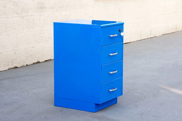 Vintage Steelcase File Cabinet, Refinished in Blue