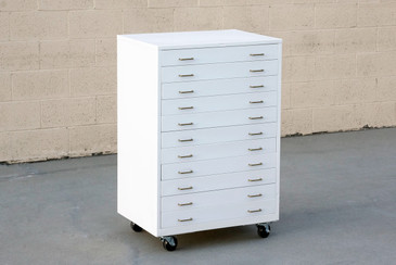 SOLD - 1960s Vertical Flat File Cabinet Refinished in Gloss White