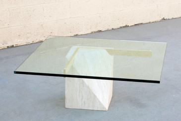 SOLD - Italian Travertine and Brass Coffee Table by Artedi
