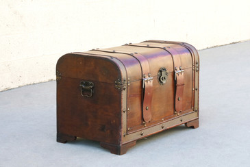 SOLD - Vintage Wood Trunk with Leather Straps