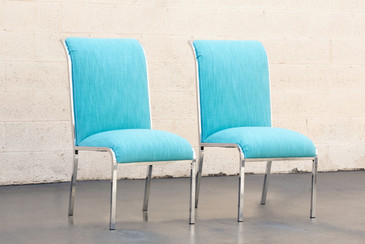 SOLD - Pair of Chrome Dining Chairs by Milo Baughman for DIA