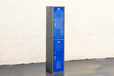 1970s Vertical Locker Cabinet,Refinished in Royal Blue