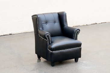 SOLD - Child's Wingback Chair, Black Leather with Chrome Tacks