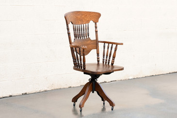"SOLD - Vintage 1970s Oak Lawyer's Chair, ""Turn of the Century"" Style"