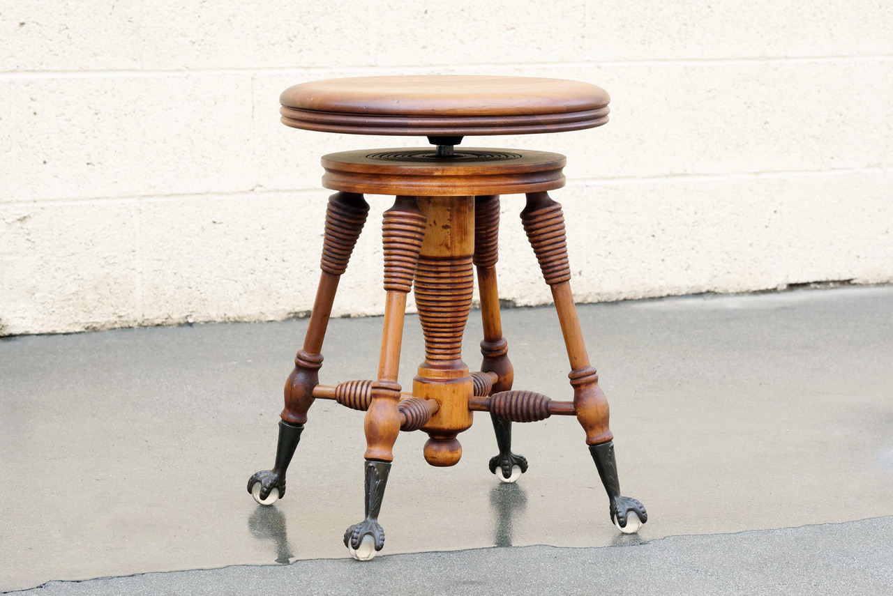 Fine Sold Antique Piano Stool With Claw And Glass Ball Foot Gamerscity Chair Design For Home Gamerscityorg