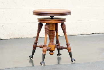 SOLD - Antique Piano Stool with Claw and Glass Ball Foot